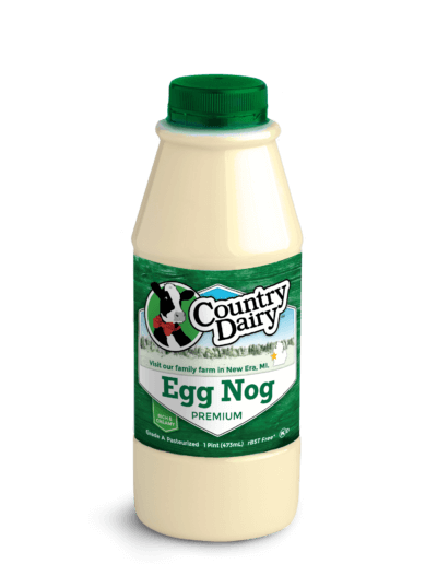 A pint sized bottle of Country Dairy Egg Nog.